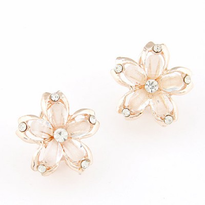 Statement white diamond decorated flower design alloy Stud Earrings