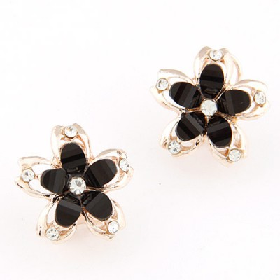Homemade black diamond decorated flower design alloy Stud Earrings
