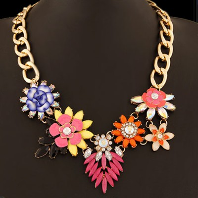 Packaging multicolor gemstone decorated flower design alloy Bib Necklaces