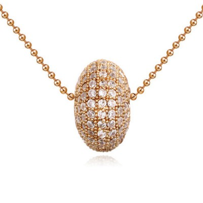 Tory white & champagne gold diamond decorated round shape design zircon Crystal Necklaces
