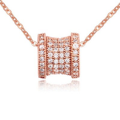 Mens white & rose gold diamond decorated transport bead design zircon Crystal Necklaces