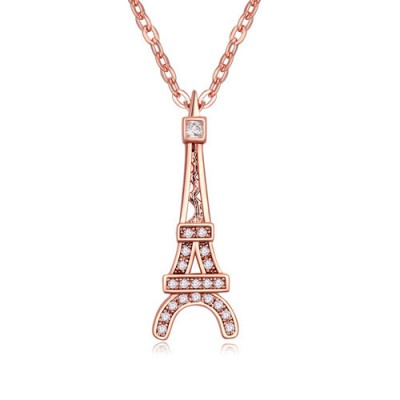 Bendable white & rose gold Eiffel Tower pendant design zircon Crystal Necklaces