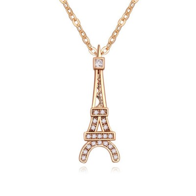 Chiropract white & champagne gold Eiffel Tower pendant design zircon Crystal Necklaces
