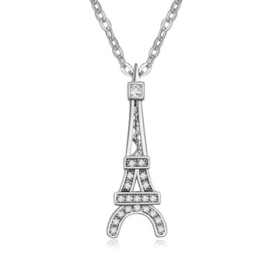 Classic white Eiffel Tower pendant design zircon Crystal Necklaces