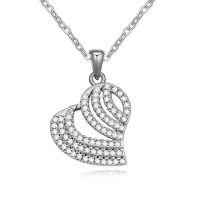 Discount white diamond decorated heart shape design zircon Crystal Necklaces