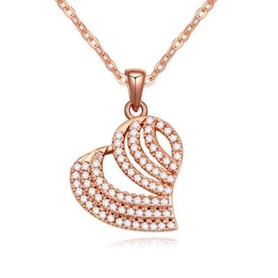 Aquamarine white & rose gold diamond decorated heart shape design zircon Crystal Necklaces