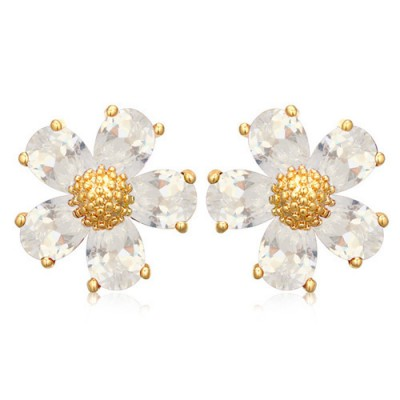 Kennedy white gemstone decorated flower design zircon Crystal Earrings