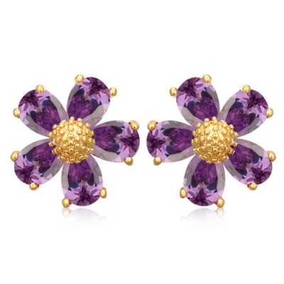 Puritan purple gemstone decorated flower design zircon Crystal Earrings