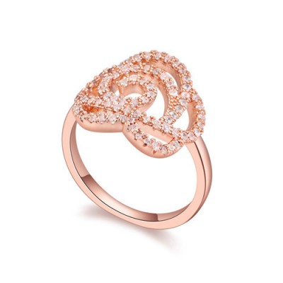 Athena white & rose gold diamond decorated hollow out rose design zircon Crystal Rings