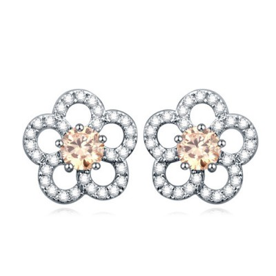 Writing champagne gemstone decorated flower design zircon Crystal Earrings