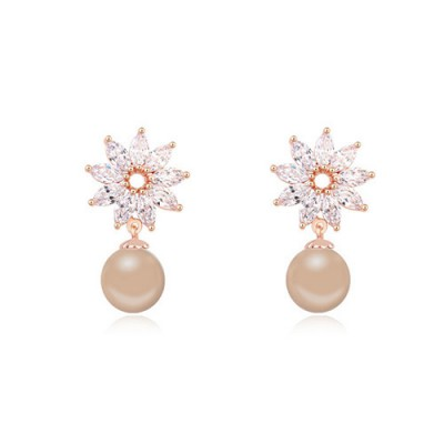Fashion bronze & champagne gold pearl decorated flower design zircon Crystal Earrings