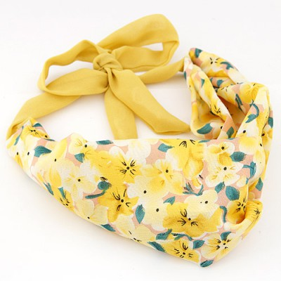 Discount yellow flower pattern simple design fabric Hair band hair hoop