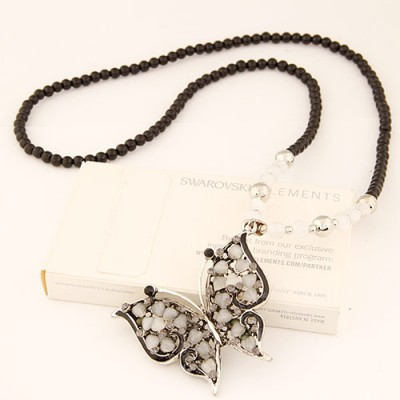 Stronglite black butterfly shape pendant design alloy Beaded Necklaces