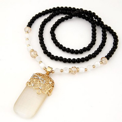 Carters black hollow out flower decorated simple design alloy Beaded Necklaces