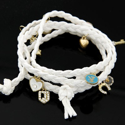 Small white rope braided multilayer design alloy Korean Fashion Bracelet