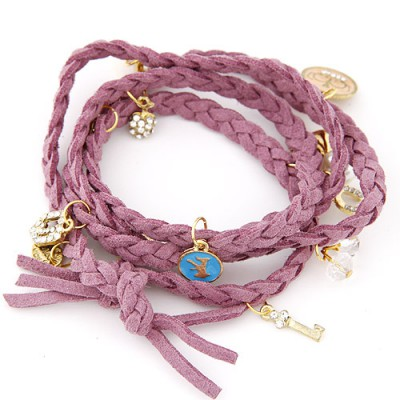 Hot purple rope braided multilayer design alloy Korean Fashion Bracelet