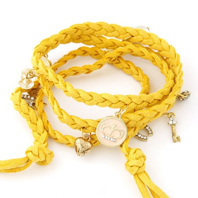 Girls yellow rope braided multilayer design alloy Korean Fashion Bracelet