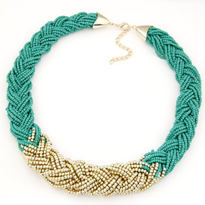 Funny light green beads weave simple design alloy Beaded Necklaces