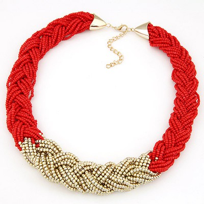 Funny red beads weave simple design alloy Beaded Necklaces