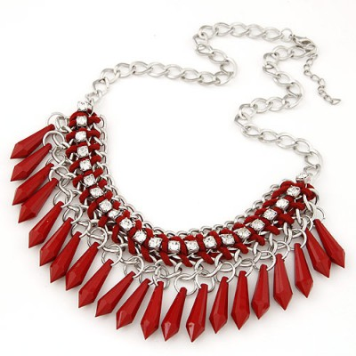 Rave red waterdrop decorated tassel desgin alloy Bib Necklaces