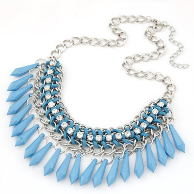 Rolling light bule waterdrop decorated tassel desgin alloy Bib Necklaces