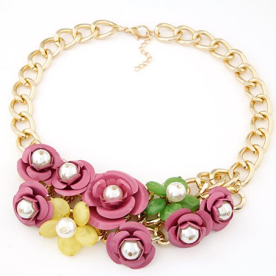 Decorative multicolor pearl decorated flower design