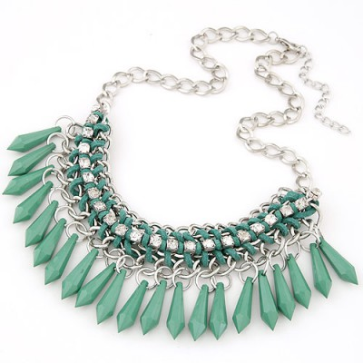 Slim green waterdrop decorated tassel desgin alloy Bib Necklaces