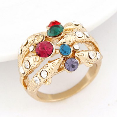 Milly multicolor diamond decorated fish shape design alloy Korean Rings