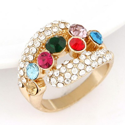 Fantastic multicolor seven diamond decorated simple design alloy Korean Rings