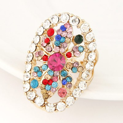 Extra multicolor diamond decorated flower design alloy Korean Rings