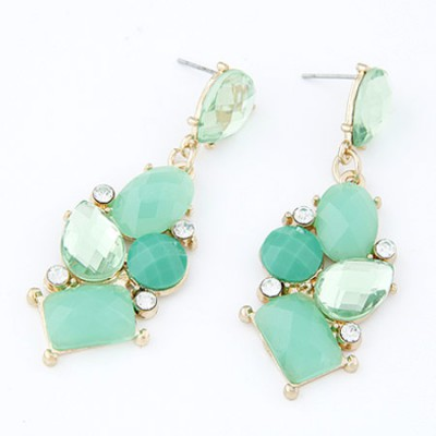 Slacks light green gemstone decorated geometrical shape design alloy Stud Earrings