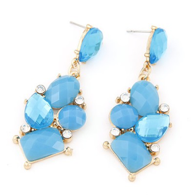 Puritan light blue gemstone decorated geometrical shape design alloy Stud Earrings