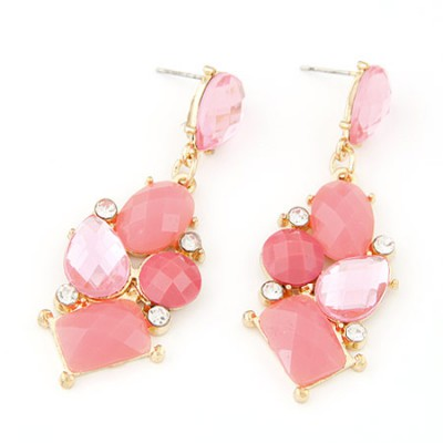 Chiropract pink gemstone decorated geometrical shape design alloy Stud Earrings