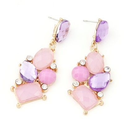 Tall light purple gemstone decorated geometrical shape design alloy Stud Earrings