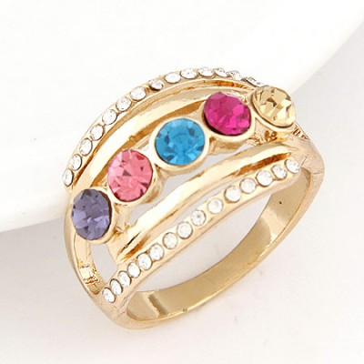 Venetian multicolor five diamond decorated simple design alloy Korean Rings