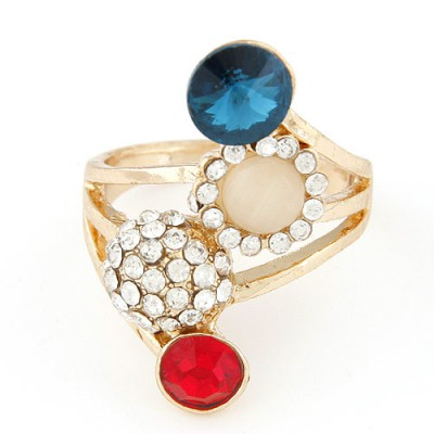Discount multicolor diamond decorated horn shape design alloy Korean Rings