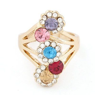 Cubic multicolor diamond decorated sun flower design alloy Korean Rings