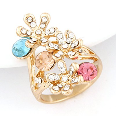 Electric gold color diamond decorated flower design alloy Korean Rings