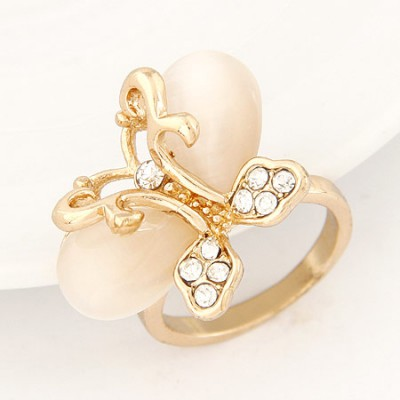 Lucky beige gemstone decorated butterfly shape design alloy Korean Rings