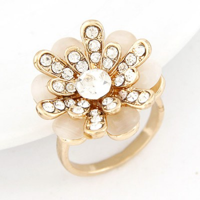 Cool white diamond decorated flower design alloy Korean Rings