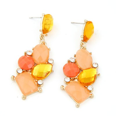 Claddagh orange gemstone decorated geometrical shape design alloy Stud Earrings