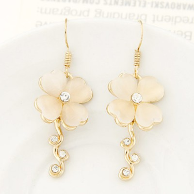 Memorable beige diamond decorated clover shape design alloy Korean Earrings