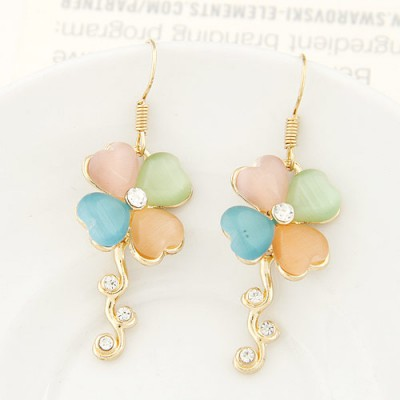 Beautiful multicolor diamond decorated clover shape design alloy Korean Earrings
