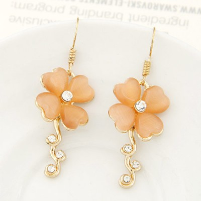 Nice light orange diamond decorated clover shape design alloy Korean Earrings