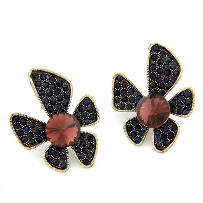 Wonderful navy blue gemstone decorated flower design alloy Stud Earrings