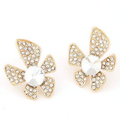 Fitness white gemstone decorated flower design alloy Stud Earrings
