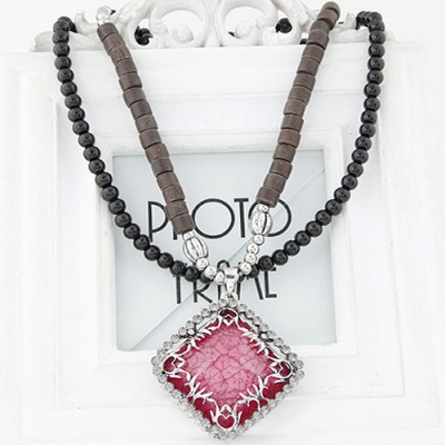 Timeless red diamond decorated square pendant design alloy Beaded Necklaces