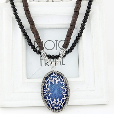 Rugged navy blue diamond decorated oval pendant design alloy Beaded Necklaces