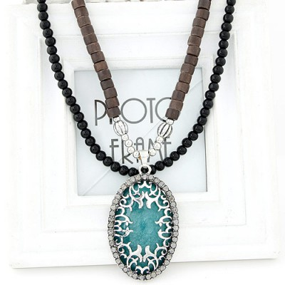 Graduated light green diamond decorated oval pendant design alloy Beaded Necklaces