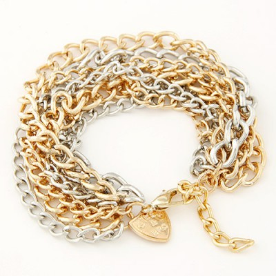 Athena gold color multilayer metal chian  design alloy Korean Fashion Bracelet